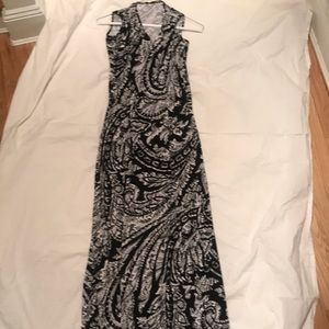Blk white paisley print  maxi dress